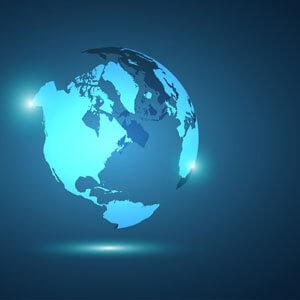 Light Blue Globe on Dark Blue Background
